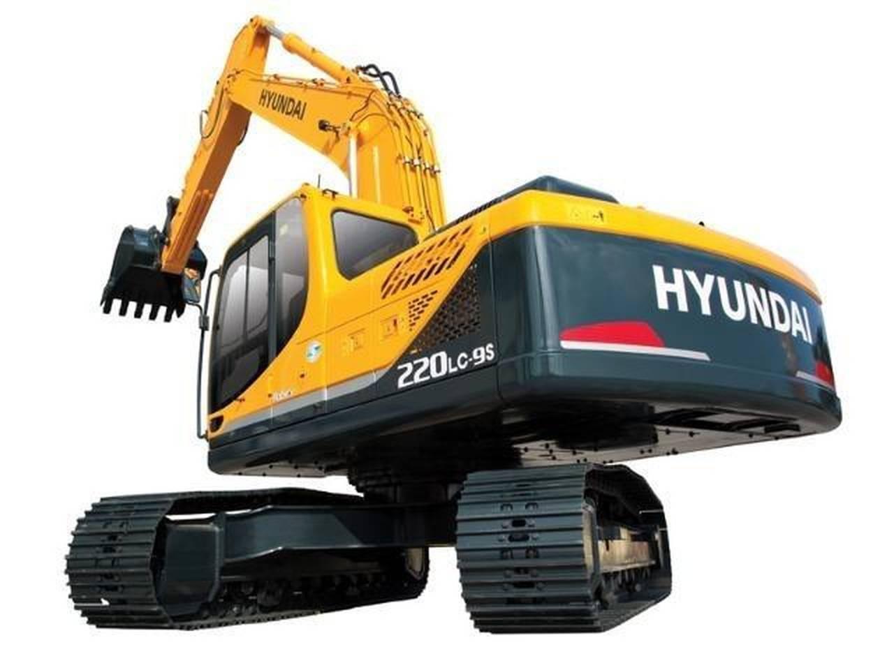 Visão ampliada da escavadeira hyundai, equipamento disponvíel para locação