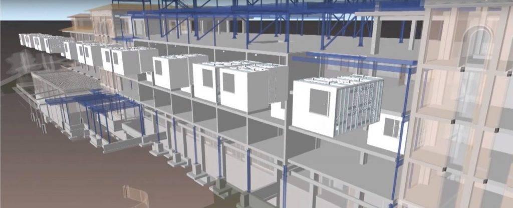 Tecnologia BIM simulando a utilização de módulos habitacionais na Construção Civil.