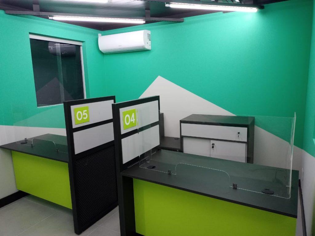 vista interna do escritório modular